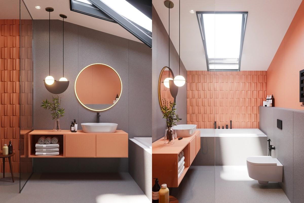 nội thất phòng tắm màu hồng siêu dễ thương