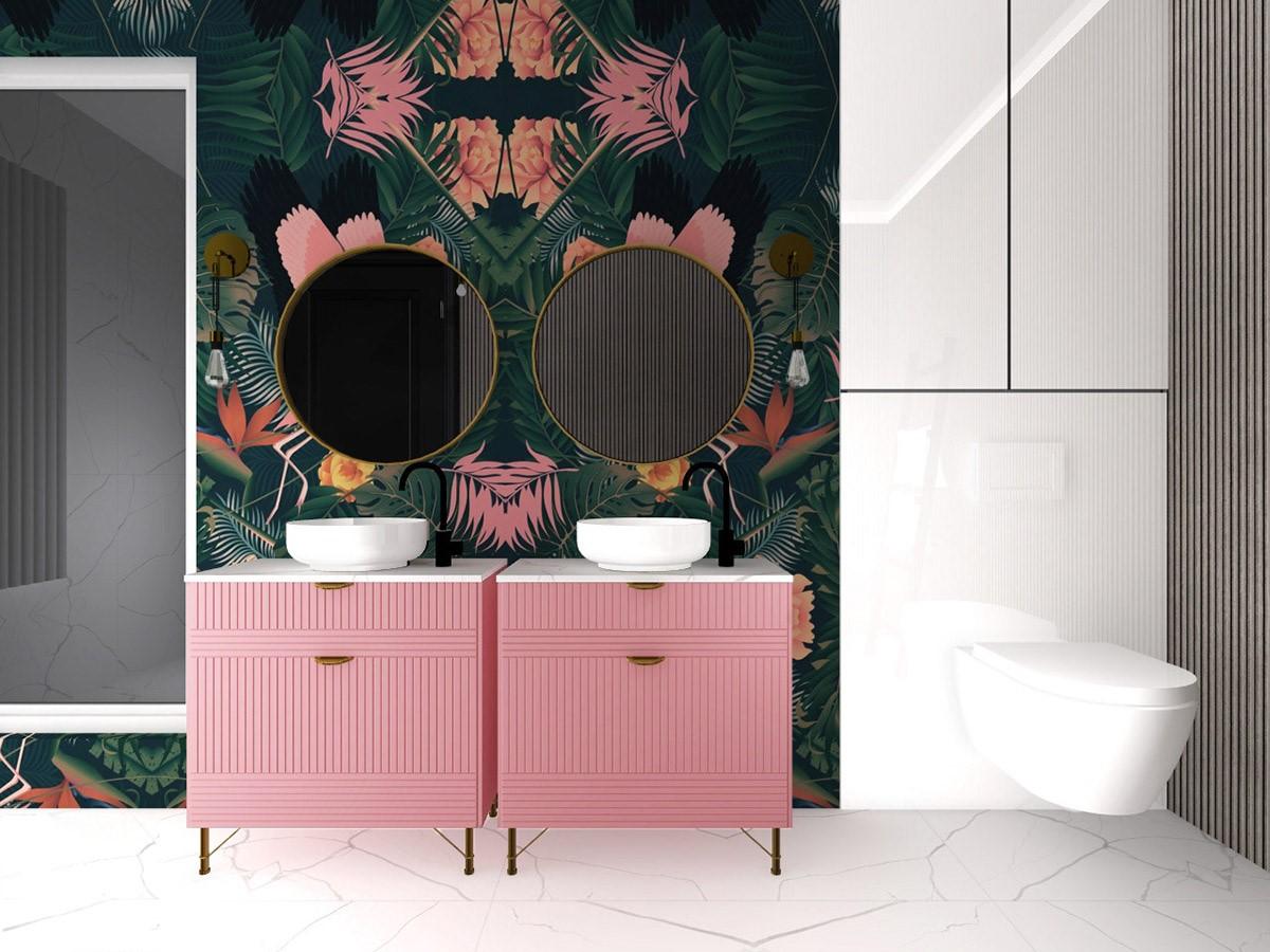 nội thất phòng tắm màu hồng nhìn mê tít