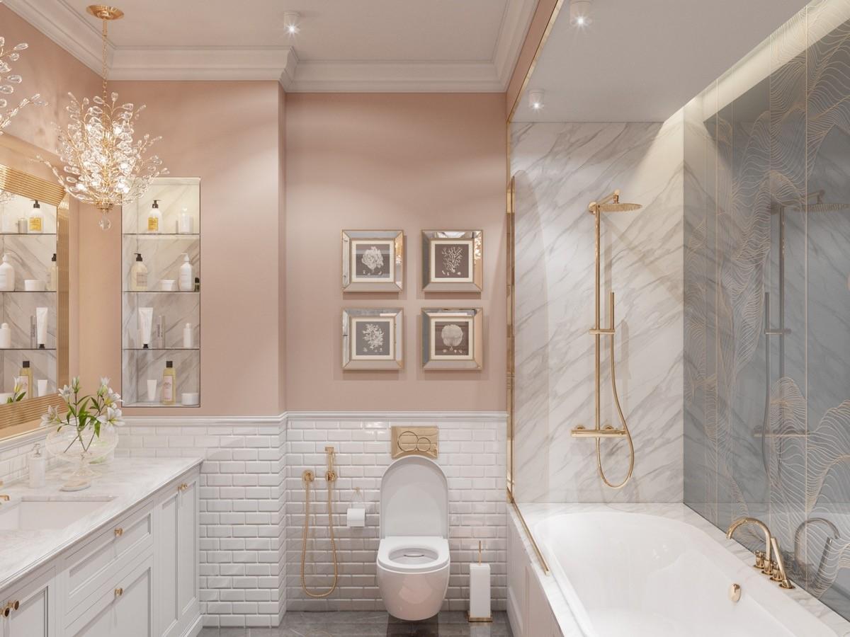 trang trí nội thất phòng tắm gam màu hồng cho các cô nàng cá tính