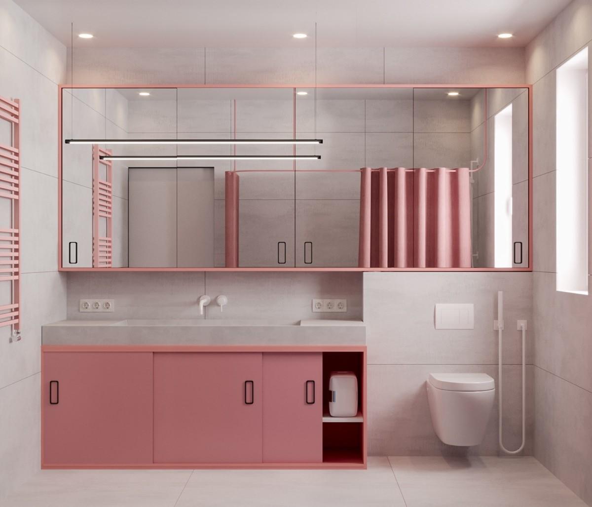 trang trí nội thất phòng tắm màu hòng cho bánh bèo