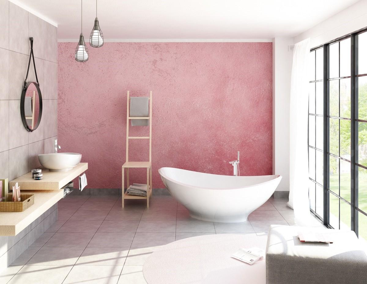trang trí nội thất phòng tắm màu hông dễ thương