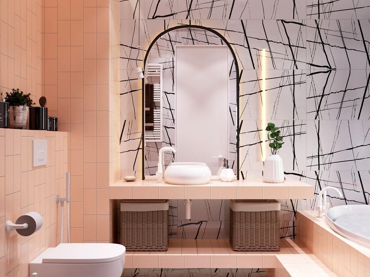 trang trí nội thất phòng tắm màu hồng cục kỳ dễ thương