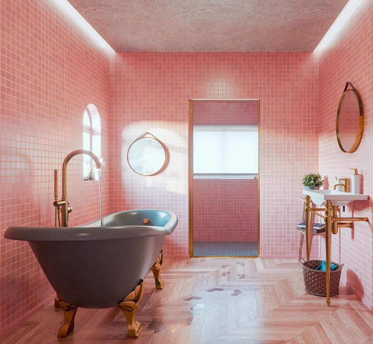 trang trí nội thất phòng tắm màu hồng cho bánh bèo 1