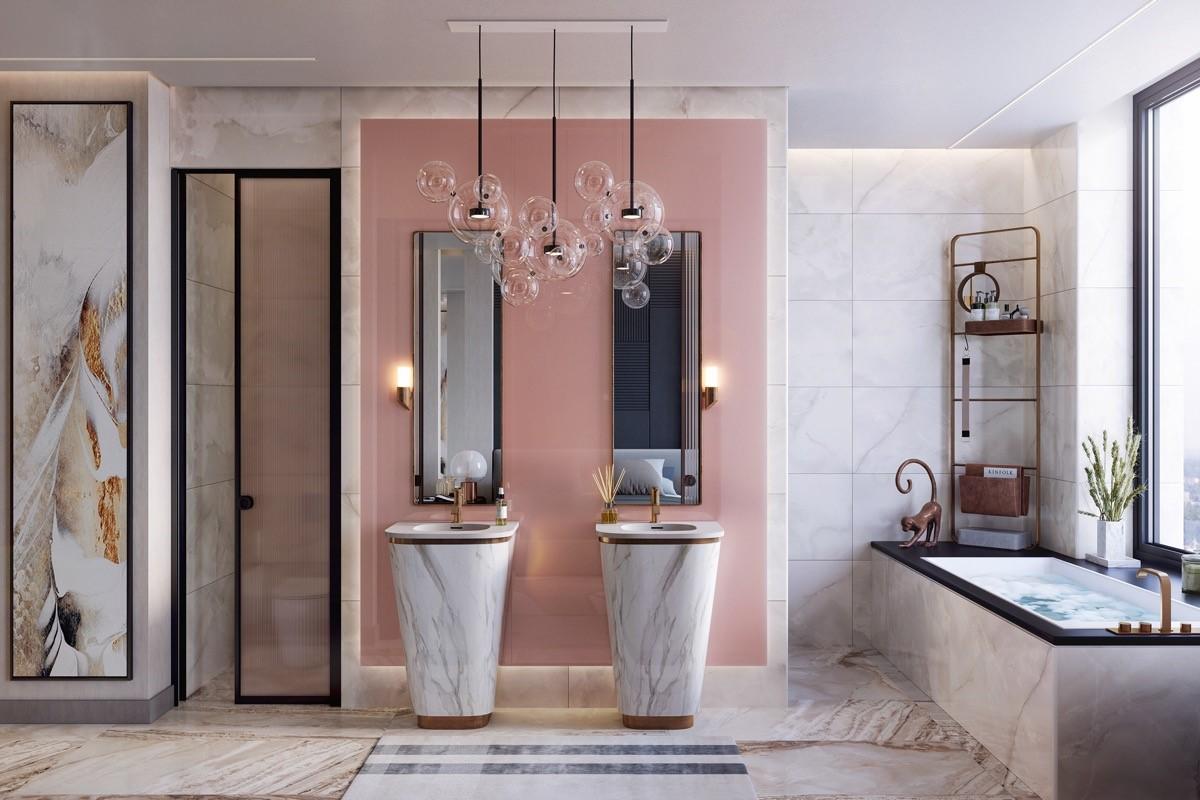 trang trí nội thất phòng tắm màu hồng cho cô nàng cá thính