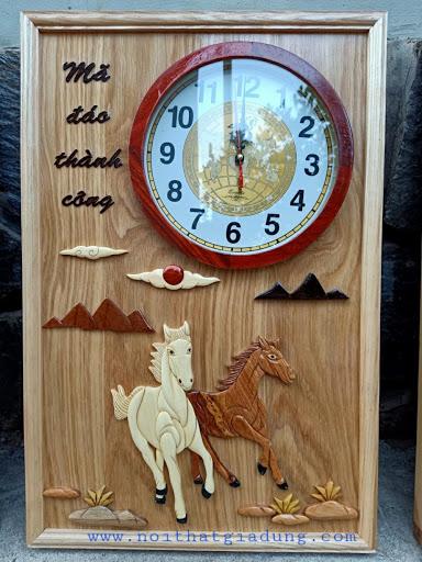 tranh ghép gỗ đồng hồ