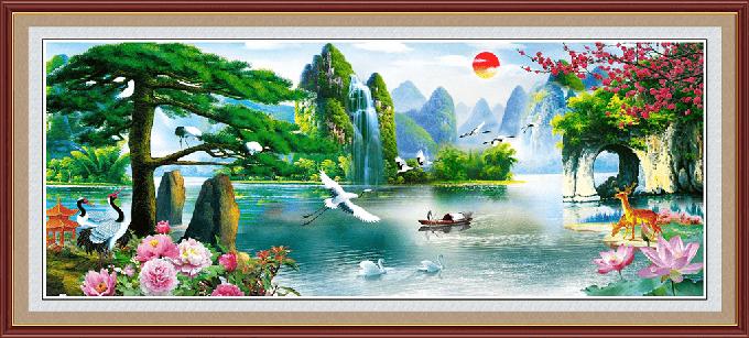Tranh phong thuỷ hồ quang sơn sắc đẹp trữ tình