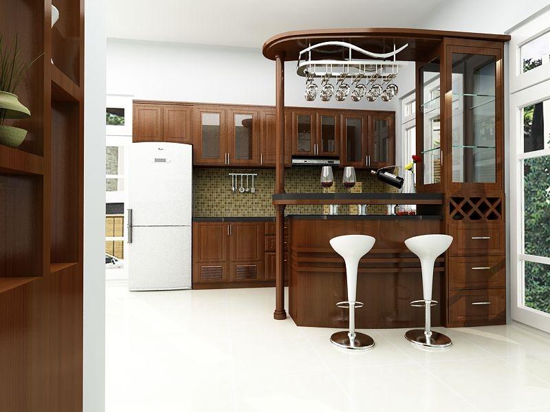 quầy bar nối liền tủ bếp