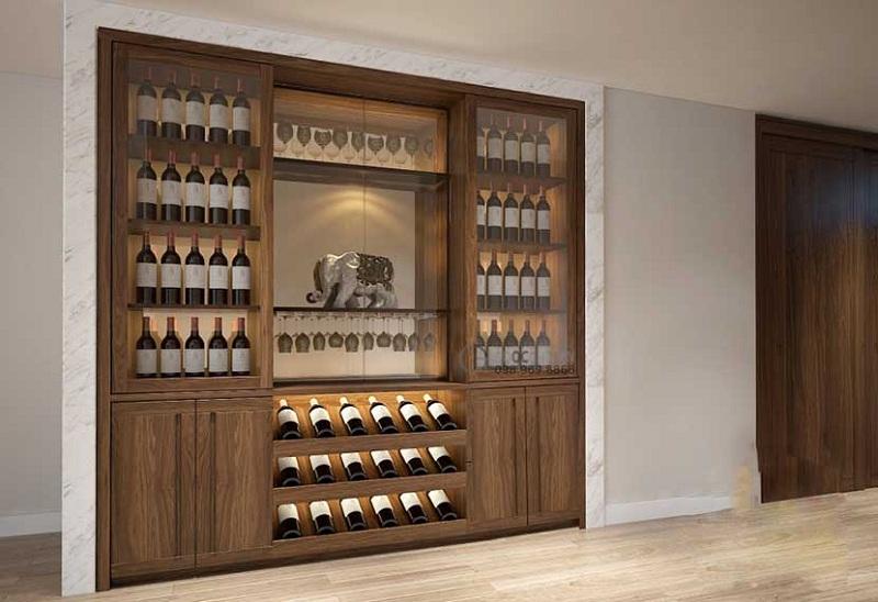 thiết kế mẫu tủ rượu gỗ công nghiệp