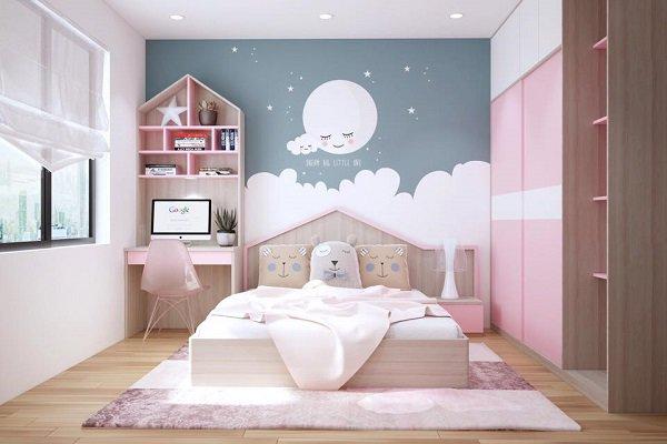 tự trang trí phòng bé với giấy dán tường