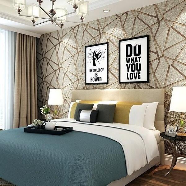 tự trang trí phòng ngủ với giấy dán tường
