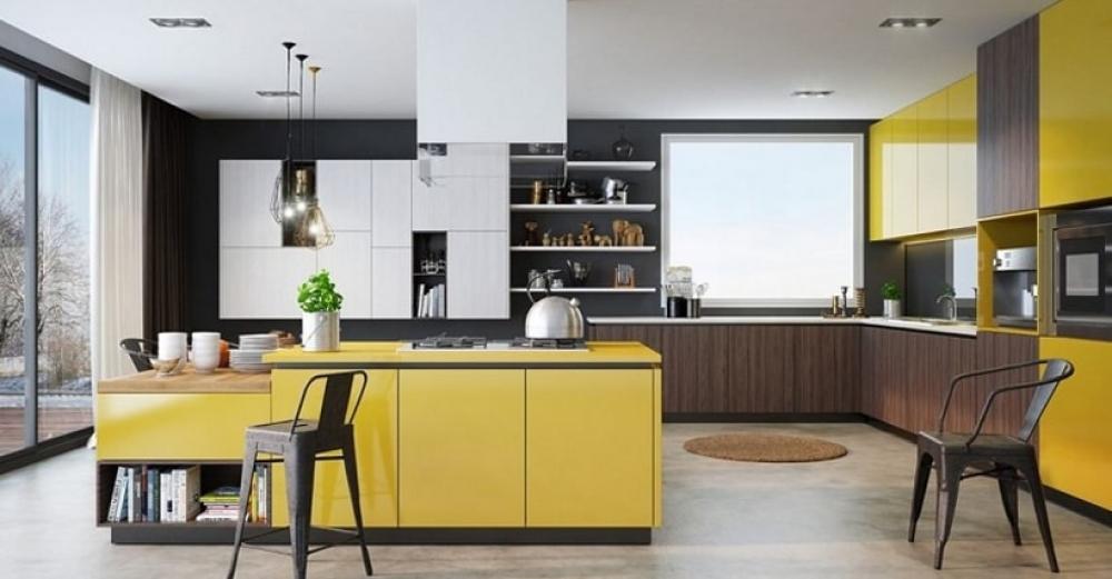 phòng bếp màu vàng đẹp