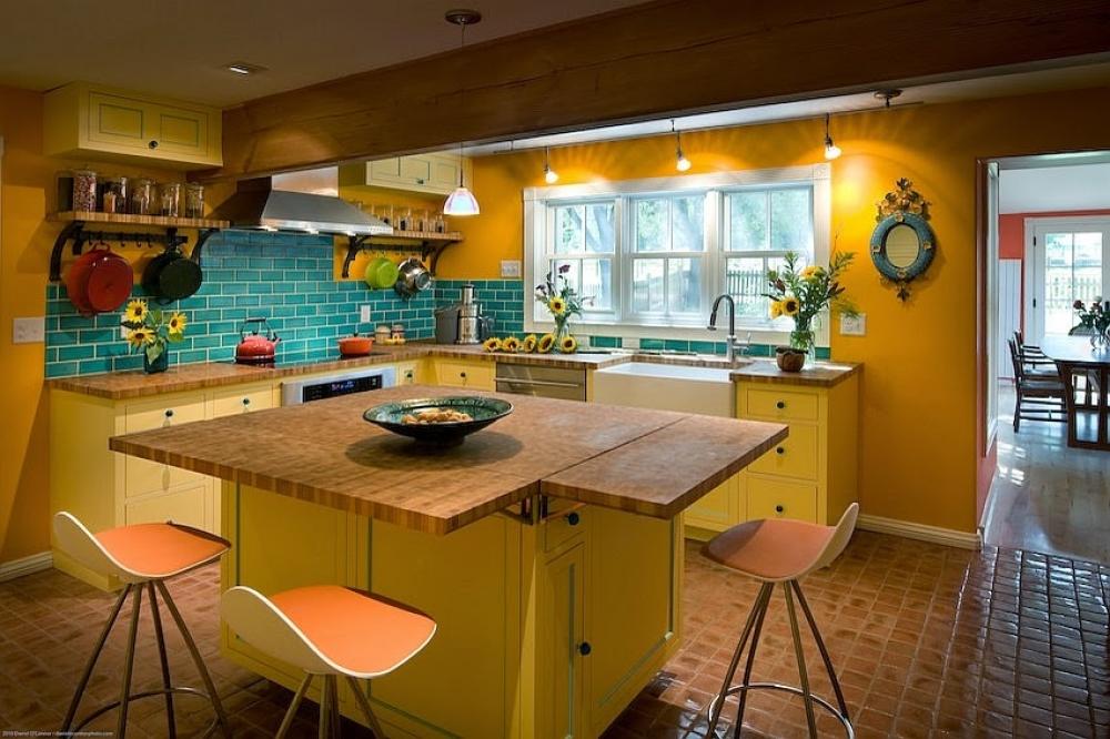 phòng bếp đẹp với gam màu vàng