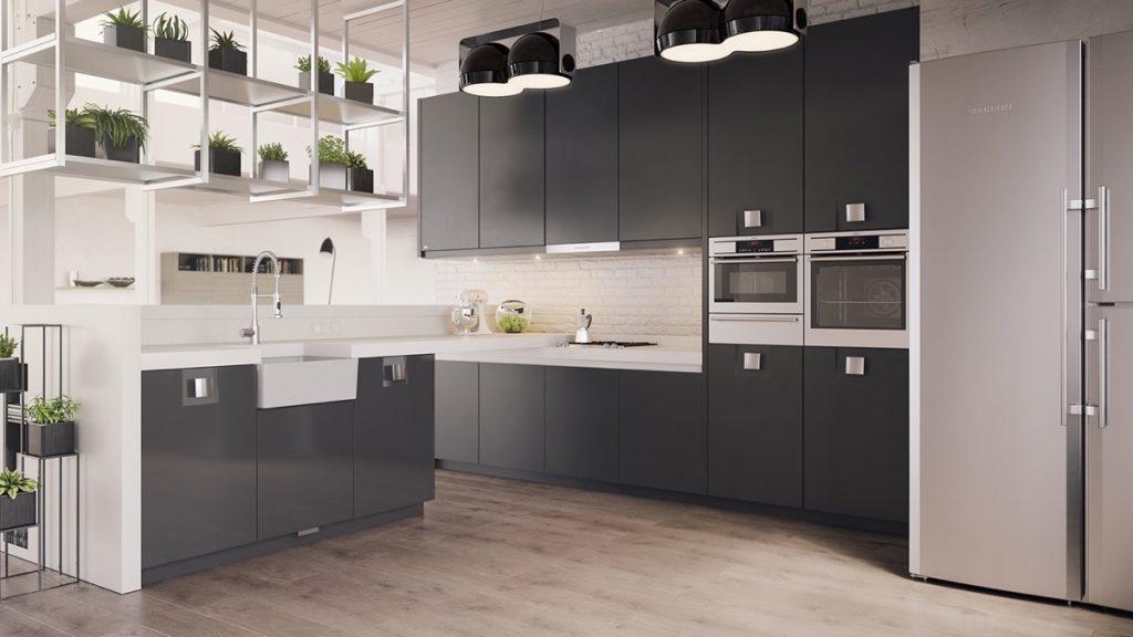 phòng bếp đẹp với gam màu tối