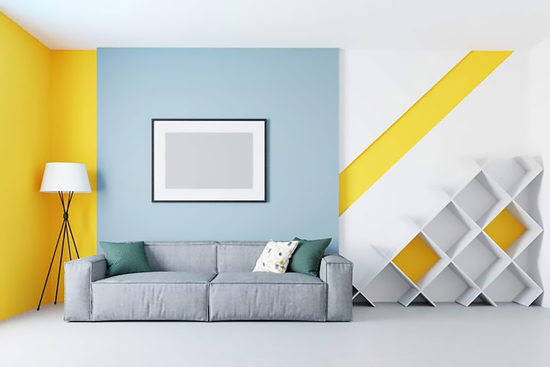 ý tưởng thiết kế nội thất phòng khách màu vàng cá tính