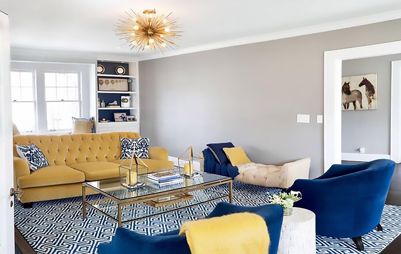 thiết kế nội thất phòng khách màu vàng cực sang chảnh