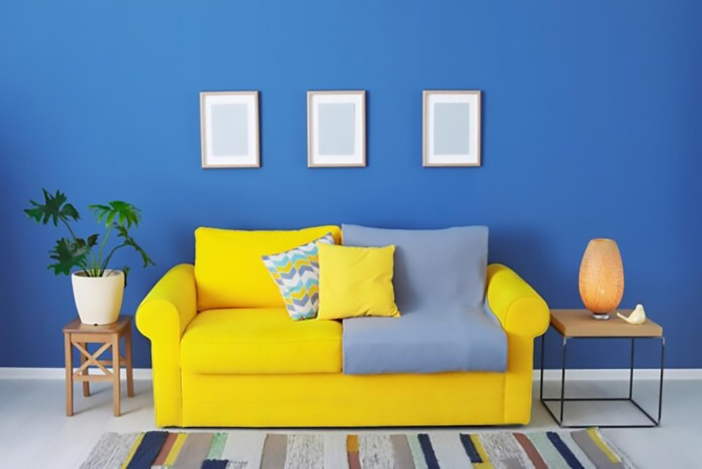 ý tưởng thiết kế nội thất phòng khách màu vàng cực sang chảnh