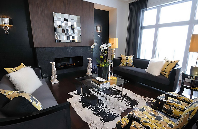 trang trí nội thất phòng khách màu vàng cực sang chảnh