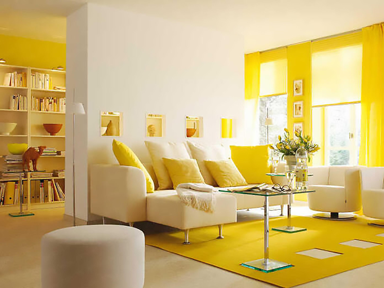 thiết kế nội thất phòng khách màu vàng lôi cuốn nhất