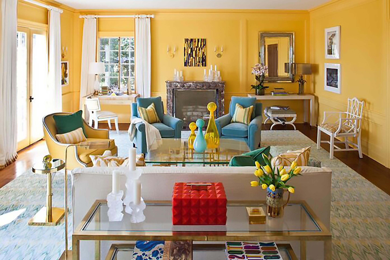 ý tưởng trang trí nội thất phòng khách màu vàng lôi cuốn nhất