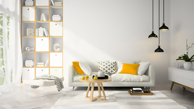 thiết kế nội thất phòng khách màu vàng sang trọng