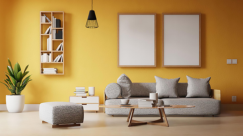 ý tưởng thiết kế nội thất phòng khách màu vàng